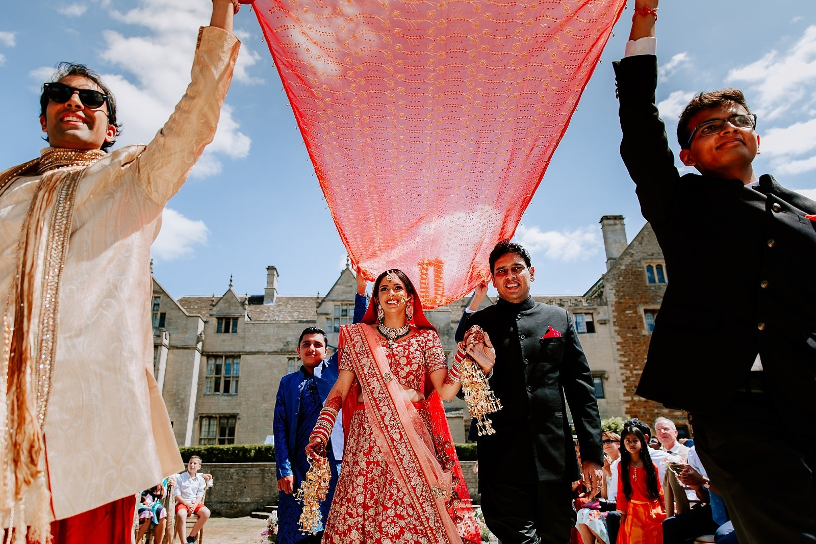 Outdoor Hindu Wedding Indian Bride Entrance Fusion Asian Photography Rushton Hall