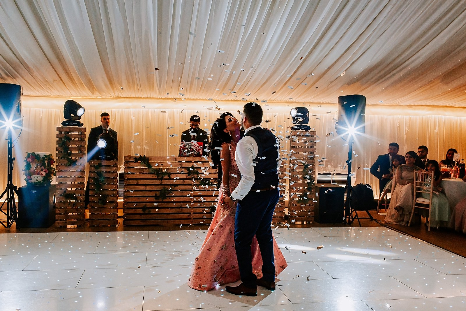 First Dance Confetti London Reception Fennes Asian Wedding Photographer Sheetal Varsani